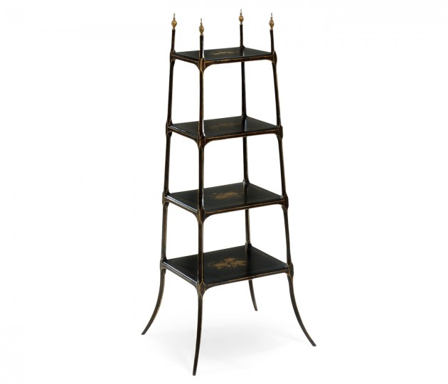 Regency Style Black Four-Tier �tag�re