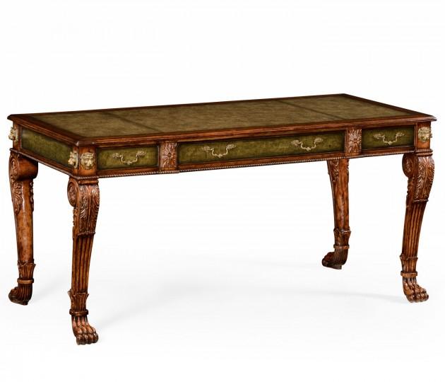 Italian Lions Paw Desk (Leather & Walnut)