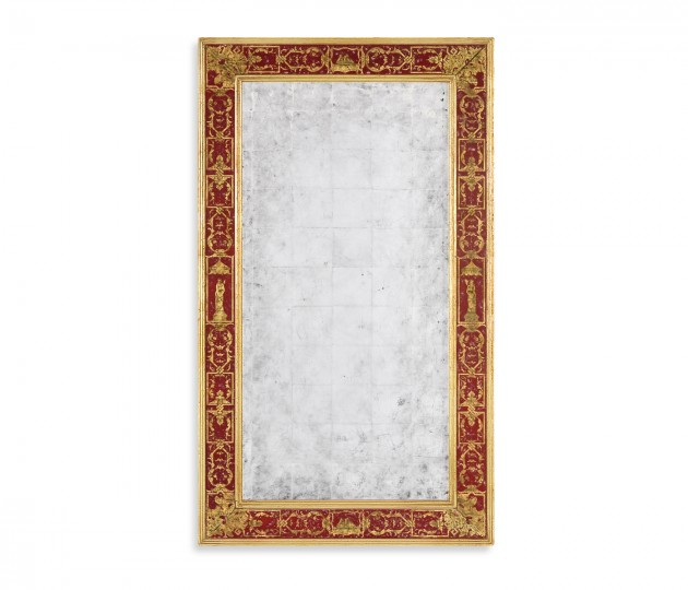 Rectangular �glomis� mirror with gilt Renaissance decoration (red)