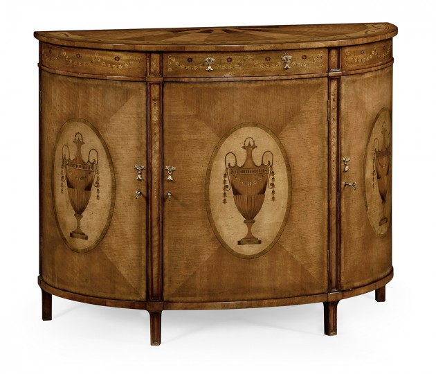 Adam Style Satinwood & Marquetry Demilune Cabinet