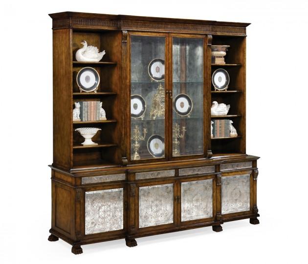 Large Breakfront Walnut & �glomis� Cabinet