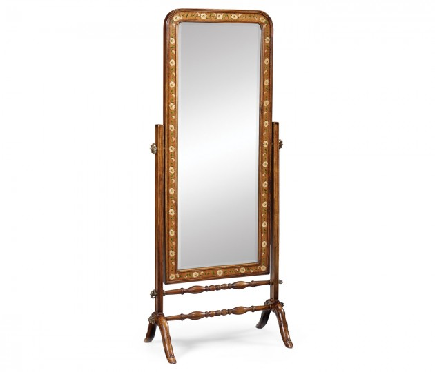 Satinwood & Painted Cheval Mirror (Full Length)