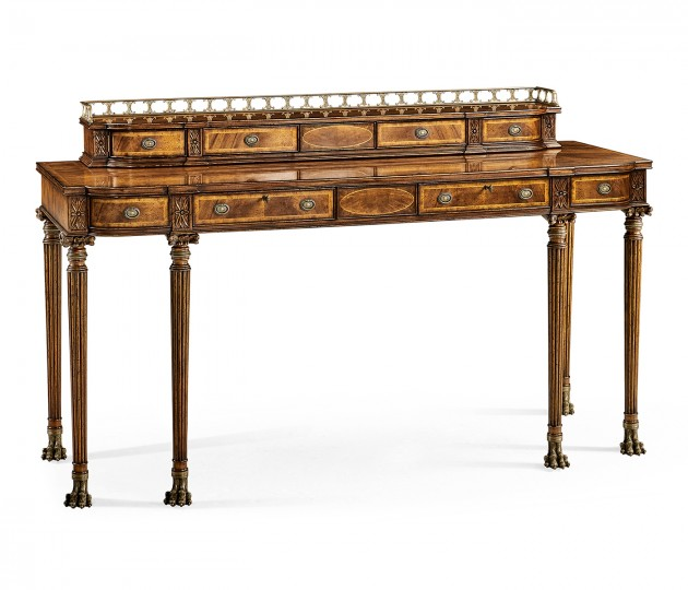 Crotch walnut buffet or serving table with brass gallery