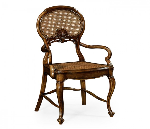 French Style Salon Chair with Caned Back (Arm)