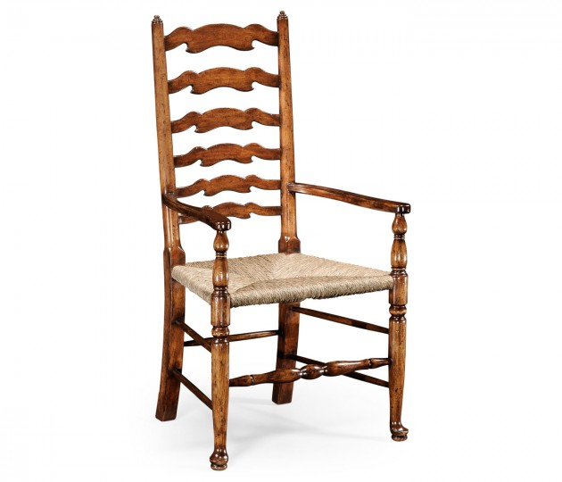 Walnut Country Ladderback Chair (Arm)