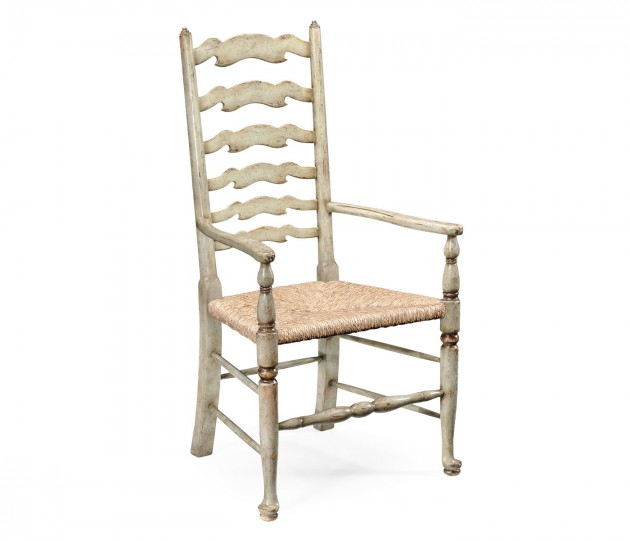 Grey Painted Ladder Back Chair (Arm)