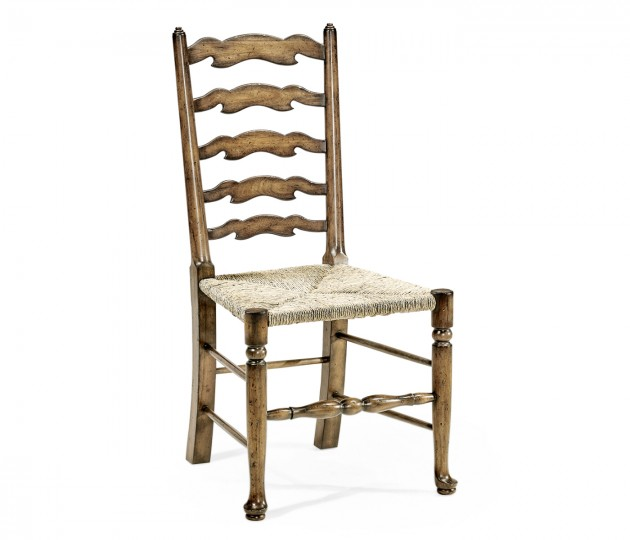 Country Ladderback Medium Brown Driftwood Dining Side Chair with Rushed Seat