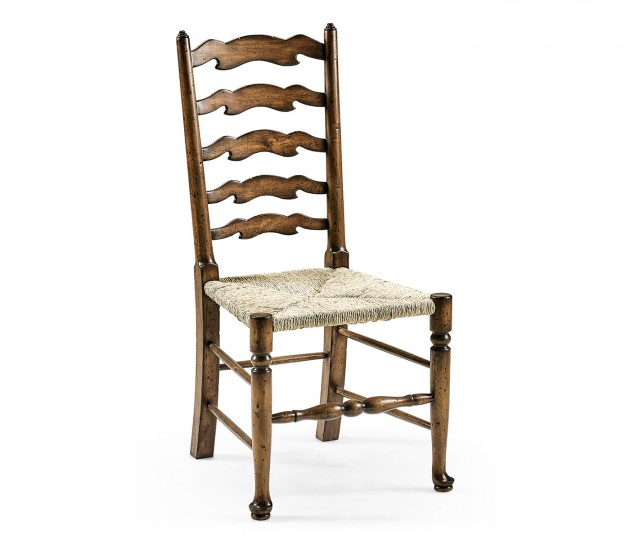 Country Ladderback Golden Ale Dining Arm Chair with Rushed Seat