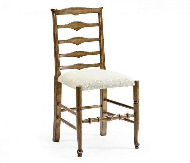 Triangular Ladderback Medium Driftwood Dining Side Chair, Upholstered in Shambala