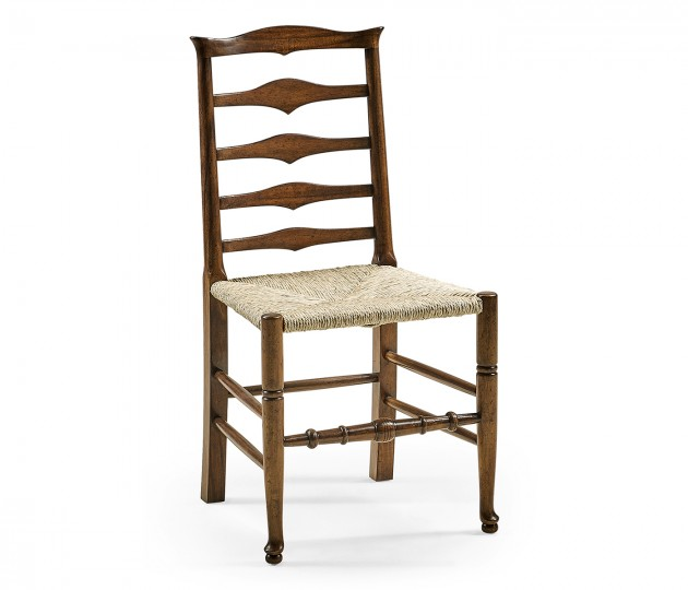 Triangular detail ladder back chair with rush seat (Side)
