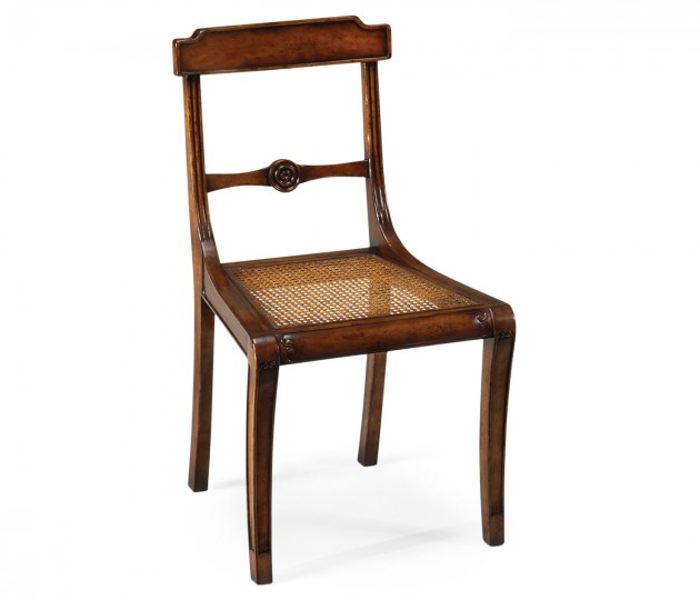Regency walnut side chair with caned seat