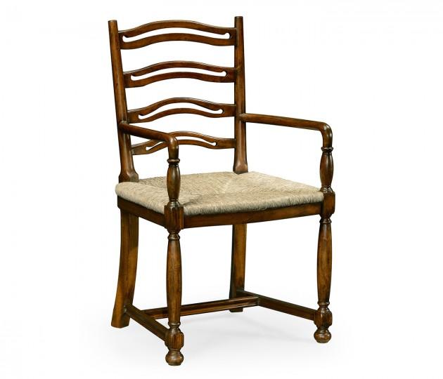 Ladder Back Walnut Chair with Pierced Slats (Arm)