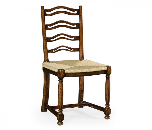 Ladder back walnut chair with pierced slats (Side)