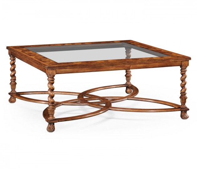 Square Oyster Coffee Table Glass Top (52