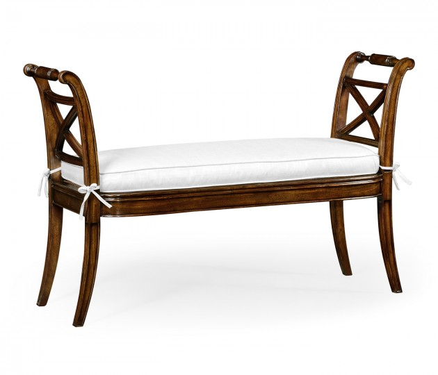 Regency Caned Walnut Bench with High Arms, , Upholstered in COM by Distributor