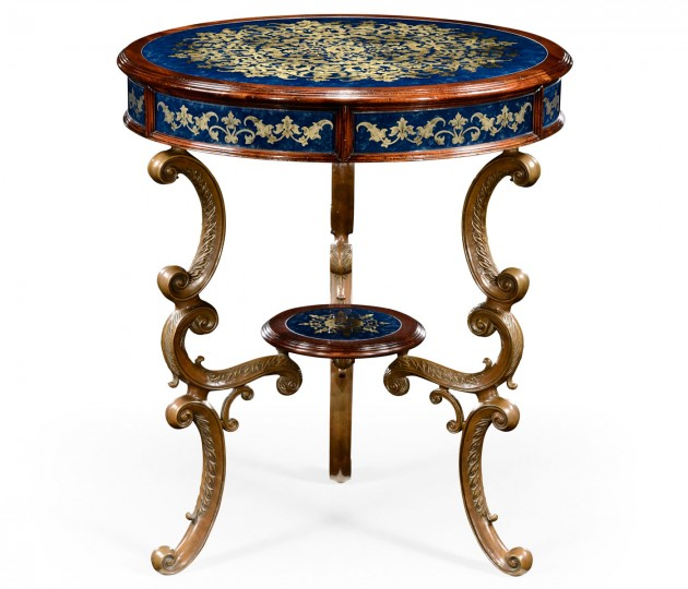 Lapis blue �glomis� with mahogany and brass side table