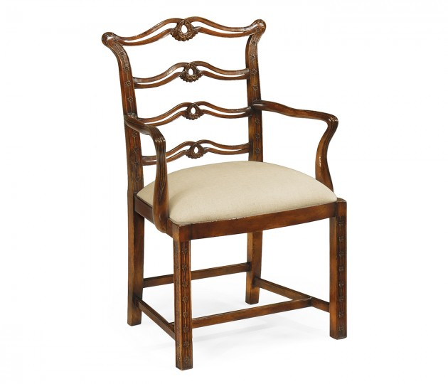 Chippendale style mahogany pierced back dining armchair