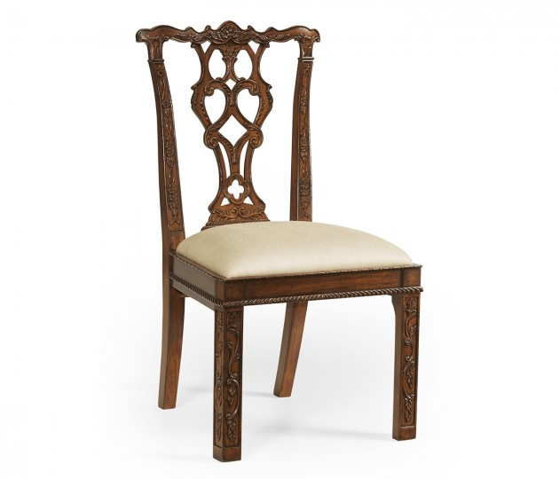 Chippendale style rococo quatrefoil chair (Side)