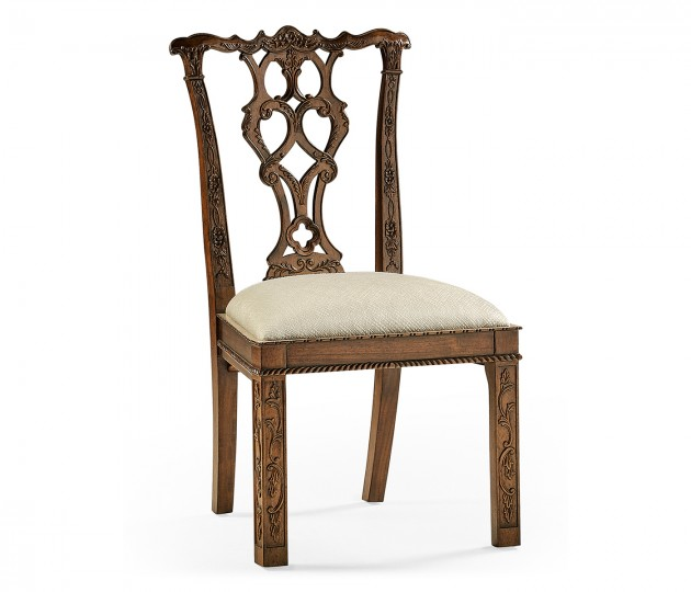 Chippendale Rococo Quatrefoil Side Chair Upholstered in Skipper