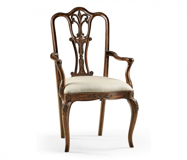 Mahogany 18Th Century Dining Arm Chair Upholstered in Skipper