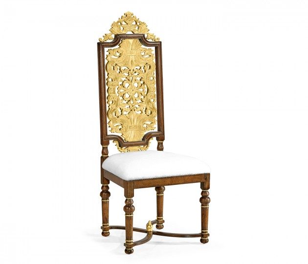 Jacobean Style Gilt Walnut Side Chair, Upholstered in COM by Distributor