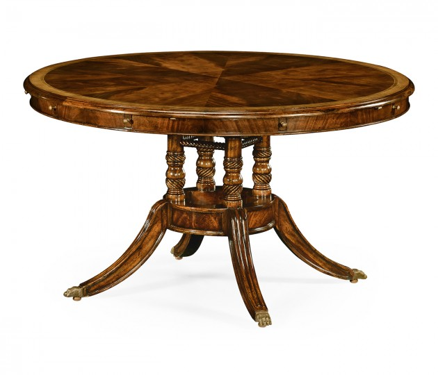 "53"" Mahogany and Satinwood Round To Oval Dining Table"
