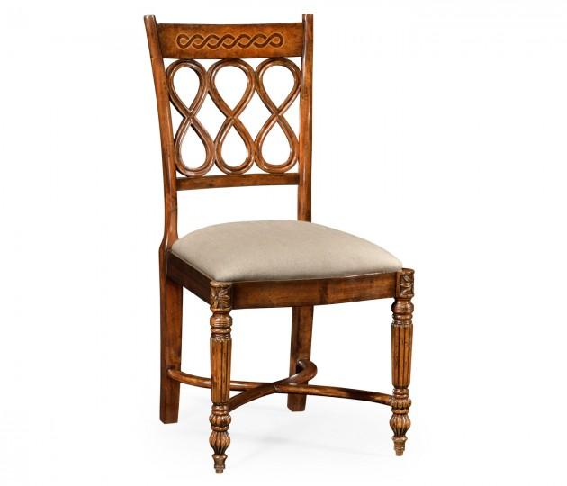 Rope twist veneer open back chair (Side)