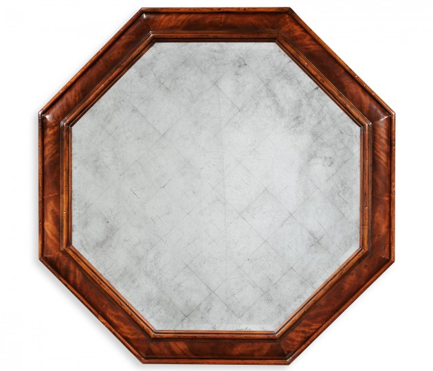 Large octagonal crotch mahogany mirror (�glomis�)