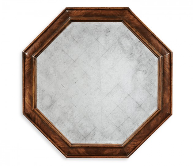 Large octagonal crotch mahogany mirror (Églomisé)