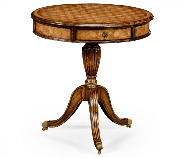 Fish scale parquetry drum table