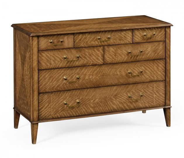 Satinwood large chest of drawers
