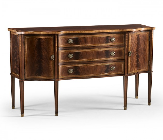 Mahogany sideboard with curved doors