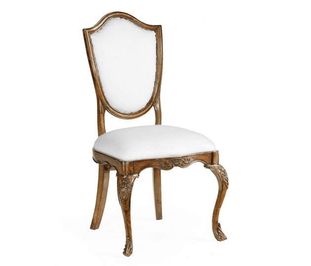 Shield Back Satinwood Side Chair, Upholstered in COM by Distributor