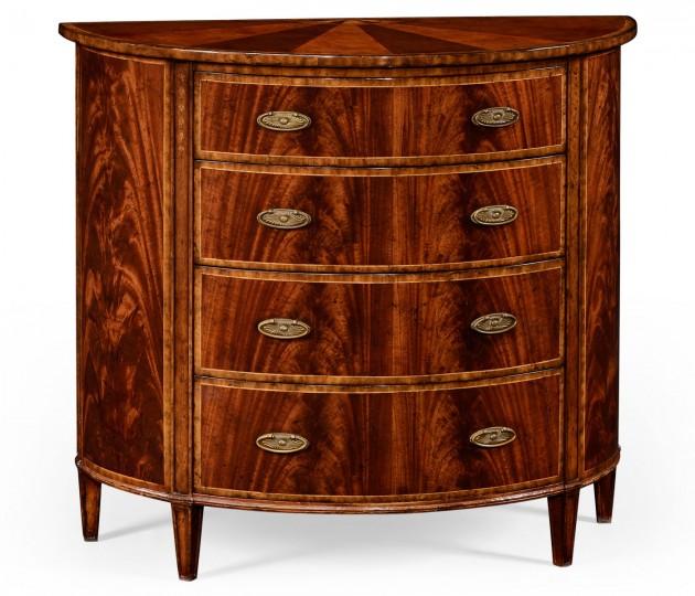 Mahogany demilune chest drawers