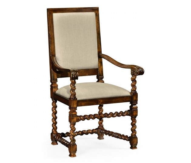 Carolean Style Chair with Upholstered Back (Arm)