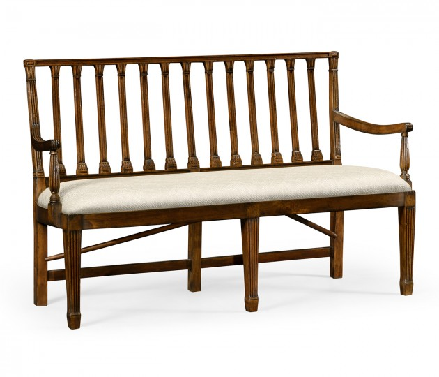 Walnut Two Seat Bench With Column Back Upholstered in Skipper