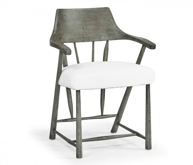 Dining Chair in Antique Dark Grey, Upholstered in COM by Distributor