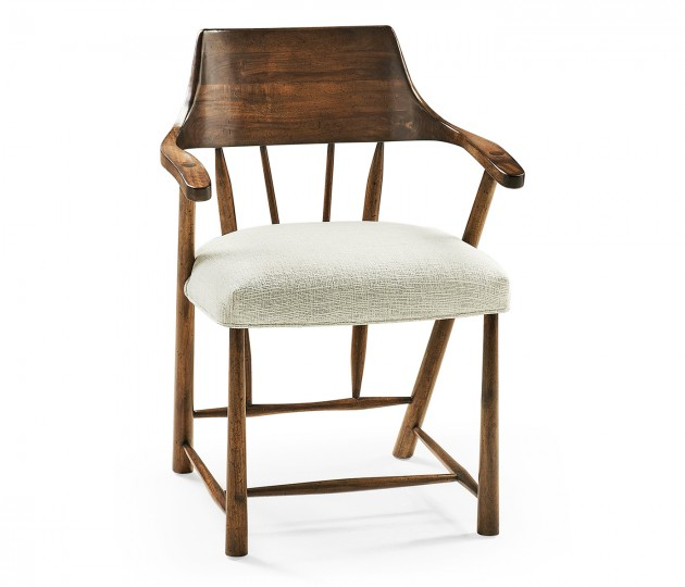 Dining Chair In Country Walnut, Upholstered in Shambala