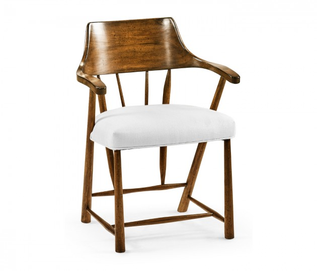 Dining Chair in Country Walnut, Upholstered in COM