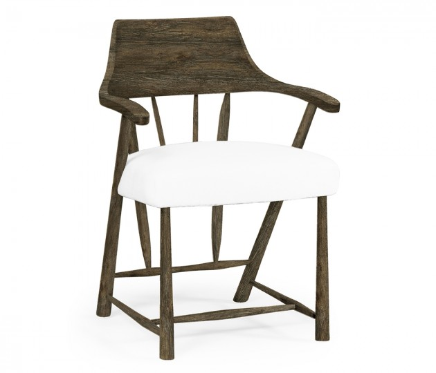 Dining Chair in Dark Driftwood, Upholstered in COM