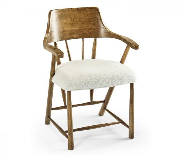 Dining Chair in Medium Driftwood, Upholstered in Shambala