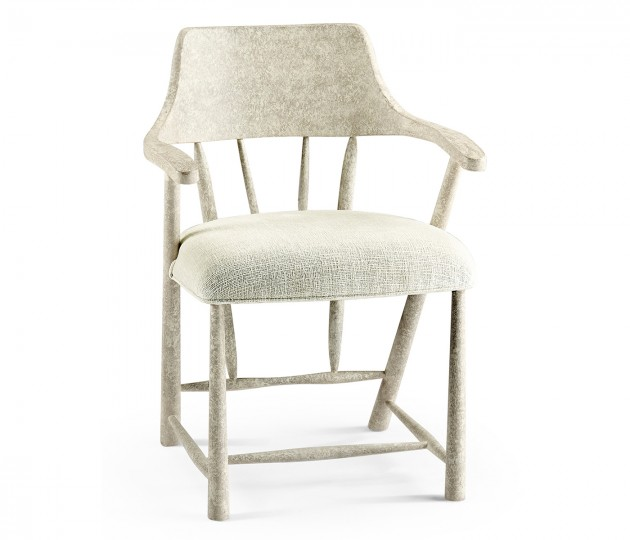 Dining Chair in Whitewash Driftwood, Upholstered in Shambala