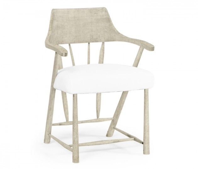 Dining Chair in Whitewash Driftwood, Upholstered in COM