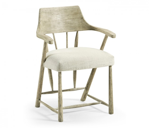 Grey Oak Dining Armchair With Fabric Seat, Upholstered in Shambala