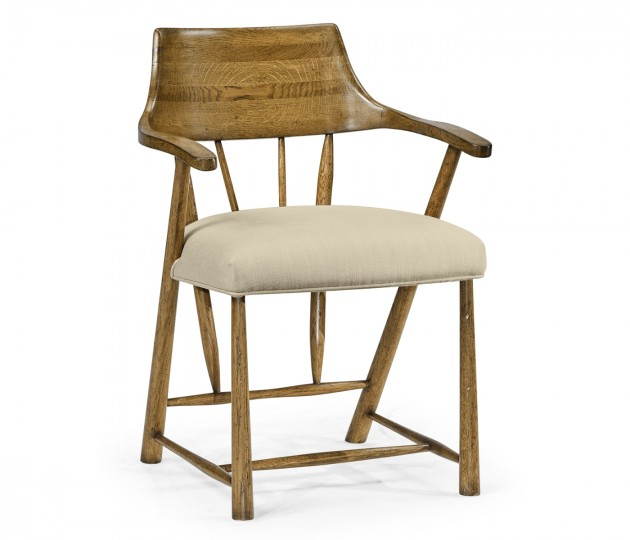 Dining Chair in Light Brown Chestnut, Upholstered in MAZO