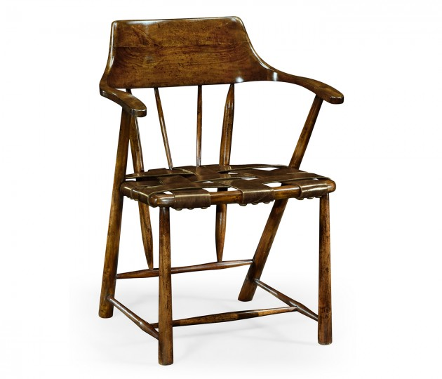 Walnut Smokers Armchair with Webbed Antique Chestnut Medium Leather Seat