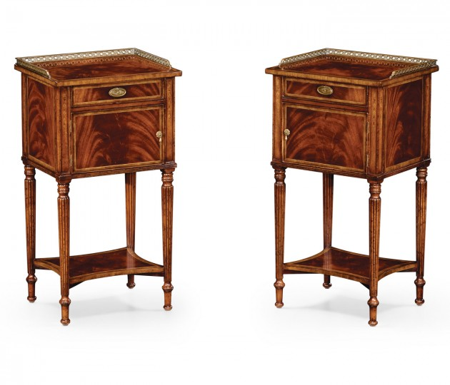 Pair of Mahogany Bedside Cabinets with Brass Gallery