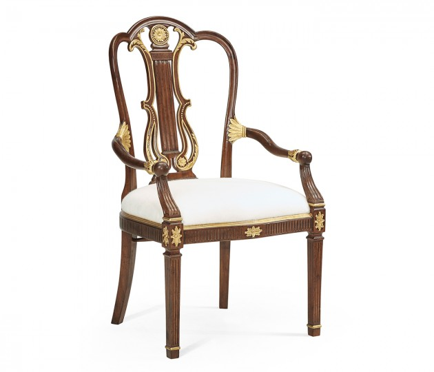 Gilded Lyre Back Arm Chair
