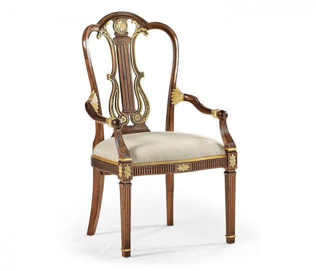 Gilded Lyre Back Dining Arm Chair Upholstered in Skipper