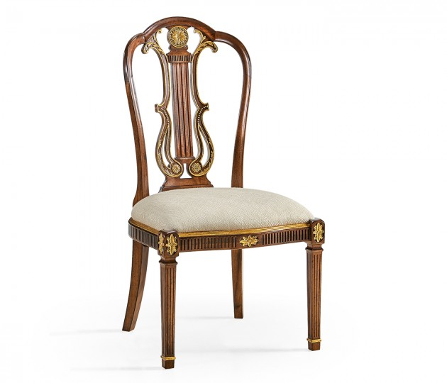 Gilded Lyre Back Dining Side Chair Upholstered in Skipper